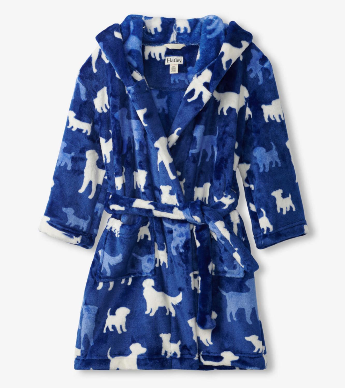 Silhouette pups fleece robe