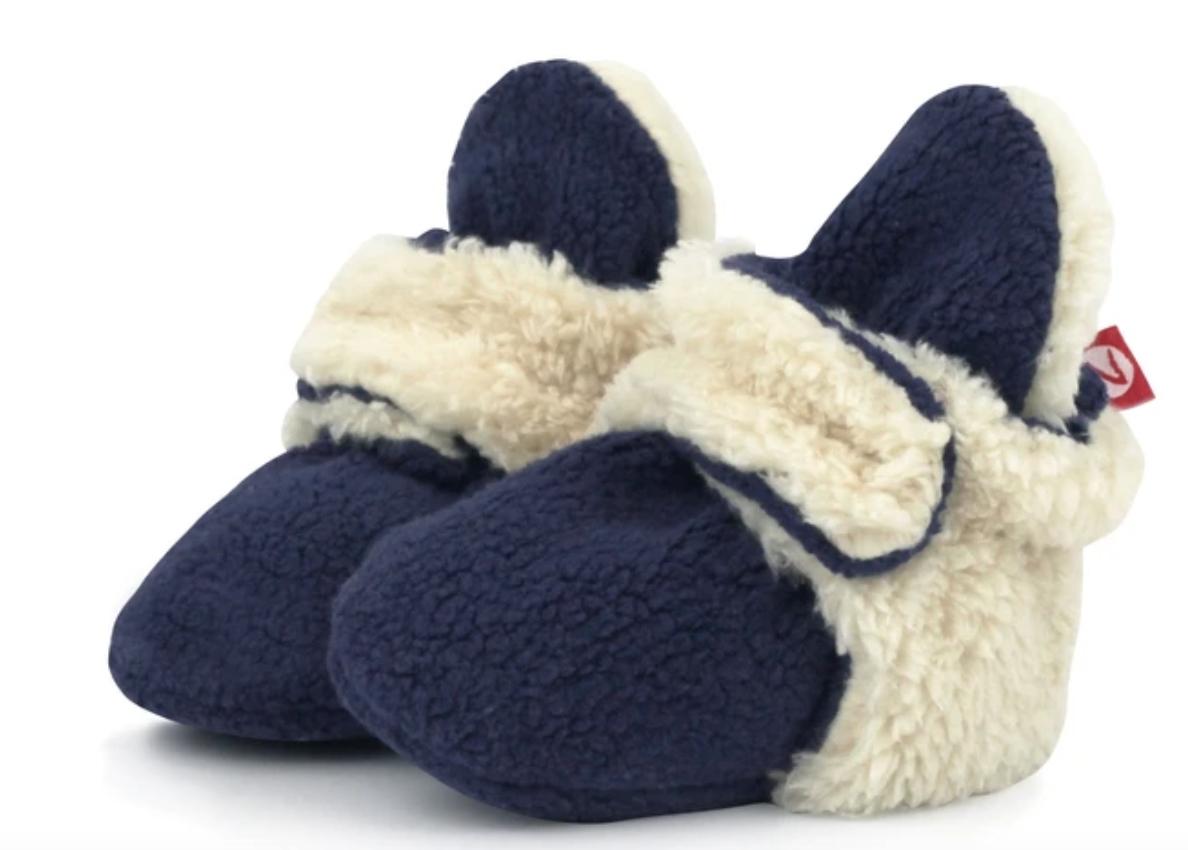 Zutano Cozie Fleece Furry Booties-True Navy