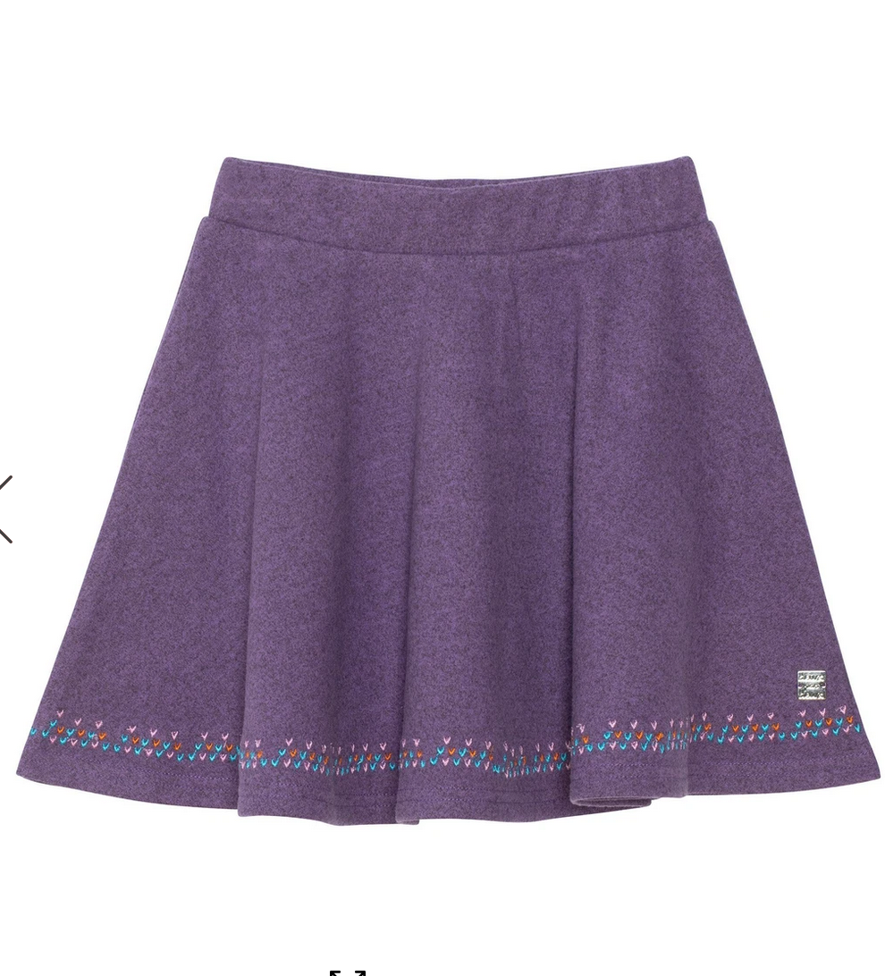 Orchid Brushed Knit Skirt with Embroidery