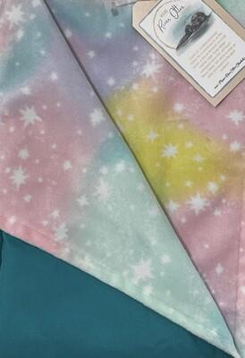 MROB minky rainbow stars on aqua