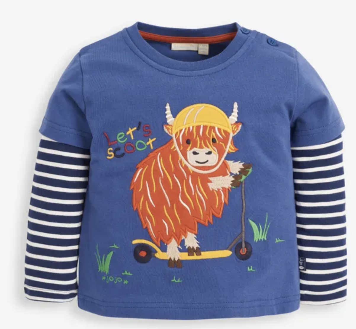 Scooting Highland Cow Applique Top IND34