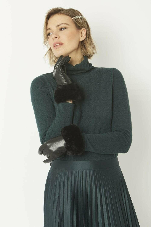 Leather Faux Fur Trim Gloves