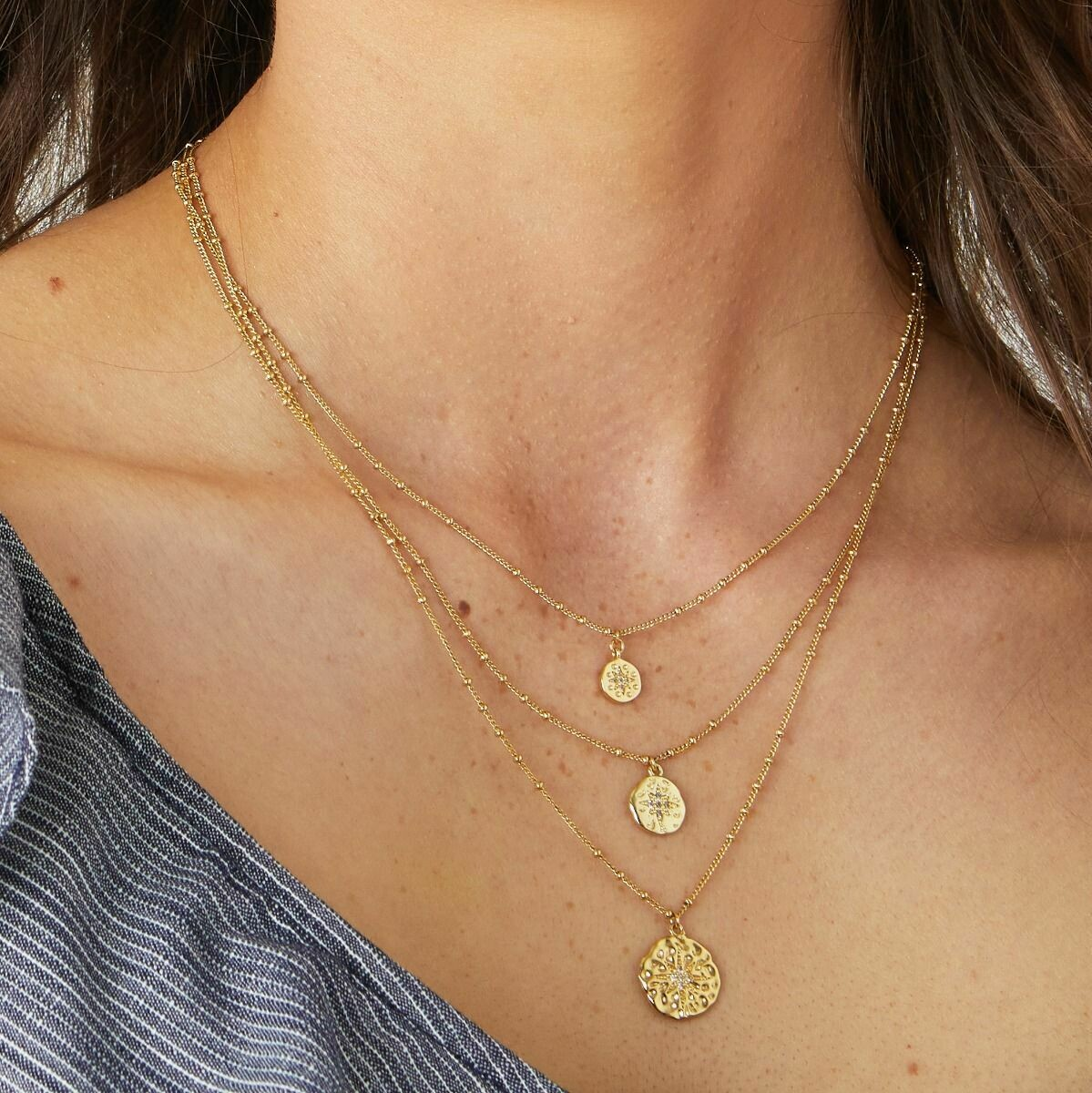 Roma Gold Coin Layer Necklace