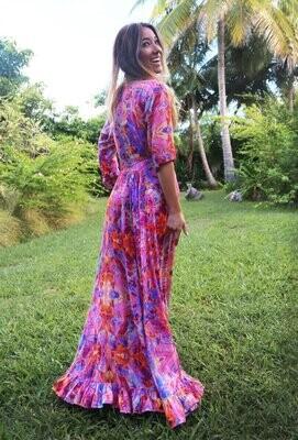 Pink Fire Midi Wrap Dress