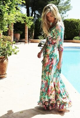 Liquid Rainbow Midi Wrap Dress