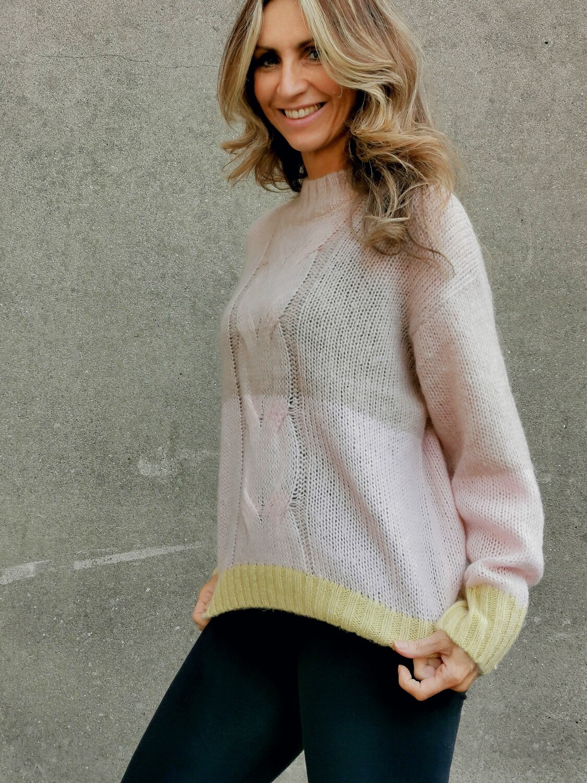 Bicolour Cable Sweater