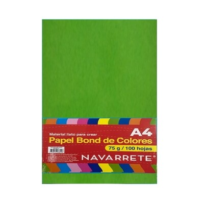 PAPEL BOND A4 75 GR. COLOR VERDE CLARO BLS X 100 HJS