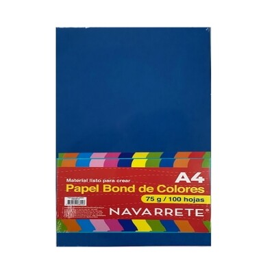 PAPEL BOND A4 75 GR. COLOR TURQUESA BLS X 100 HJS