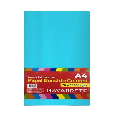 PAPEL BOND A4 75 GR. COLOR CELESTE BLS X 100 HJS