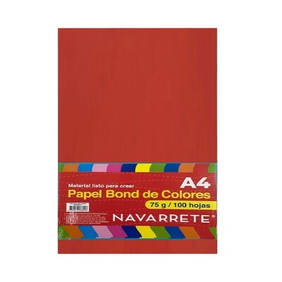 PAPEL BOND A4 75 GR. COLOR ROJO BLS X 100 HJS