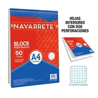 BLOCK PERFORADO A4 50 HJS CUADRICULADO