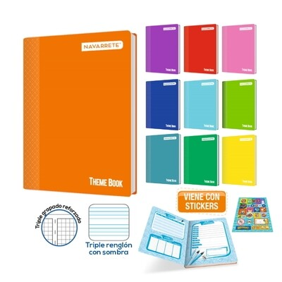 CUADERNO GRAPADO THEME BOOK A4 92 HJS TRIPLE RENGLÓN C/SOMBRA