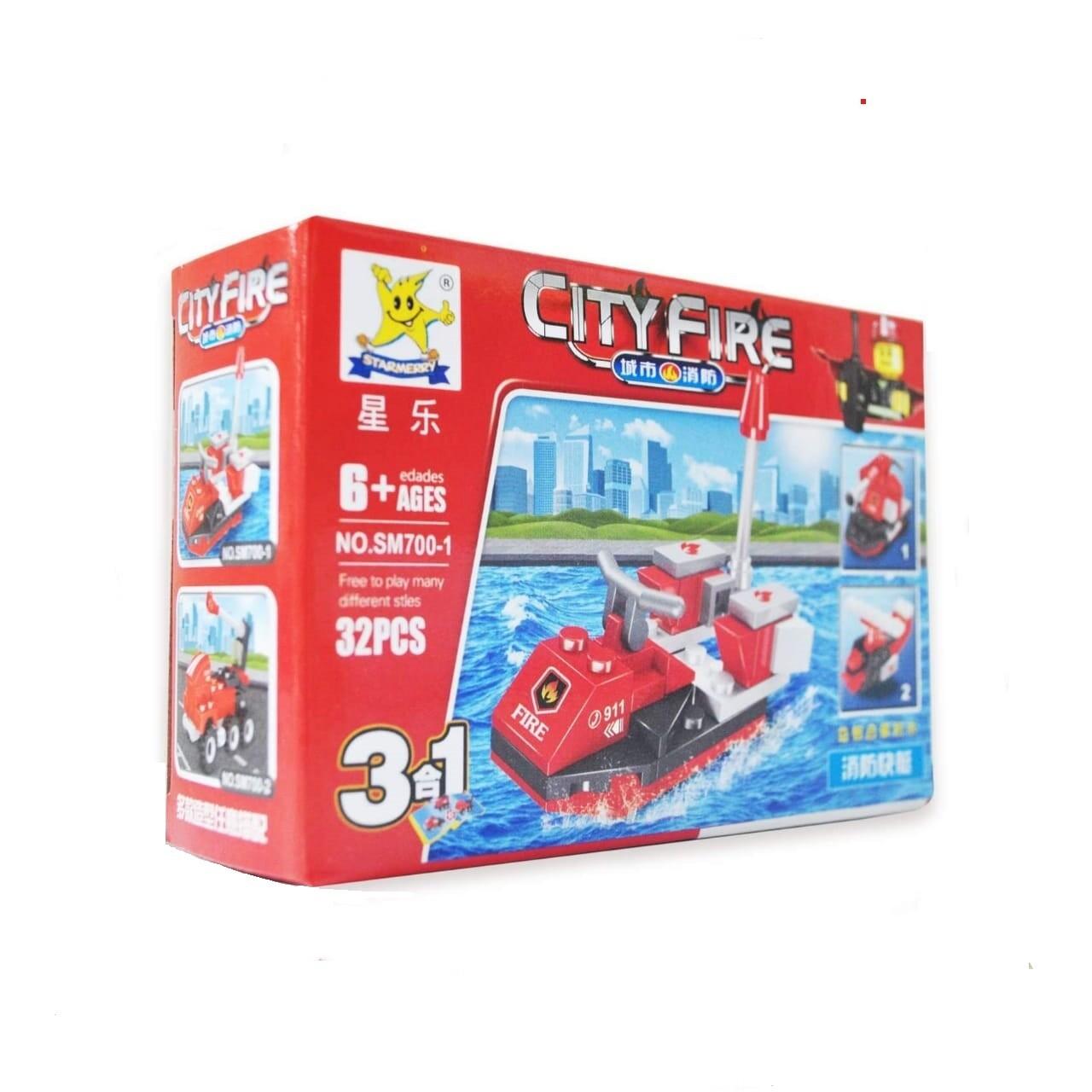 JUGUETE CITY FIRE 3 EN 1 (TIPO LEGO)