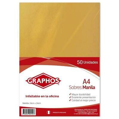 SOBRE MANILA A4 GRAPHOS (PAQX50)