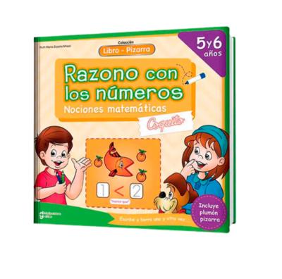 LIBRO PIZARRA RAZONO CON LOS NÚMEROS COQUITO  5 Y 6 AÑOS
