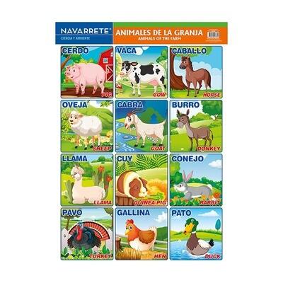LÁMINA MURAL 50 X 70 CM ANIMALES DE LA GRANJA