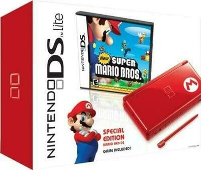 NINTENDO DS LITE MARIO RED (COMPLETE IN BOX) (usagé)