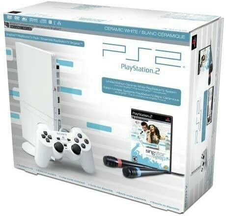 PLAYSTATION 2 MODEL 2 WHITE SINGSTAR BUNDLE (WITH BOX) (usagé)