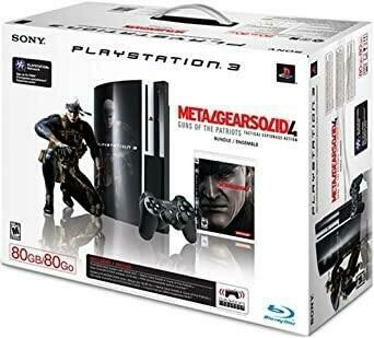 PLAYSTATION 3 MODEL 1 BLACK BACKWARD COMPATIBLE - 80GB METAL GEAR SOLID 4 BUNDLE (COMPLETE IN BOX) (usagé)