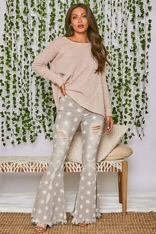 Distressed Star Bangle Bell Bottoms