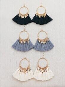 Gold Hoop Tassel Earrings