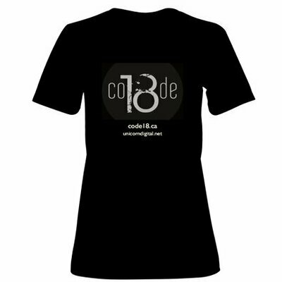 T-Shirt -  Black - Women - New Code 18 logo