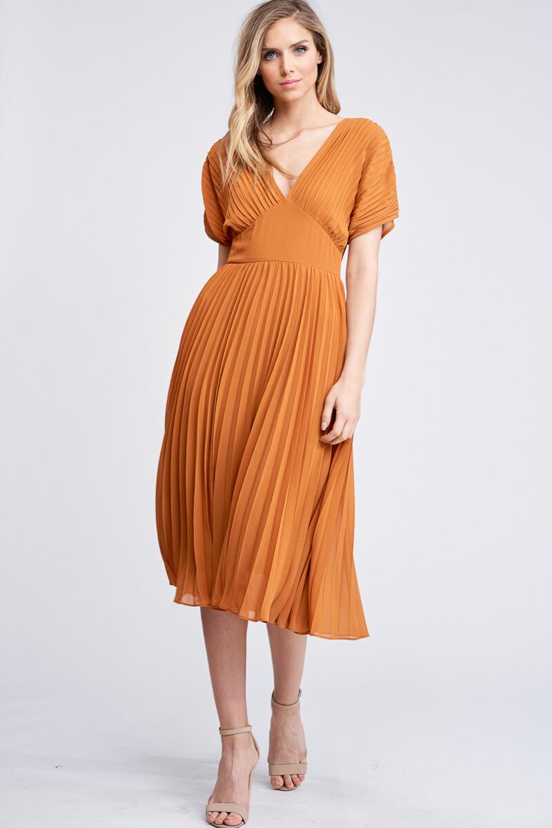Auburn Pleated Midi Dress