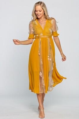 Flower Beauty Sheer Midi Dress