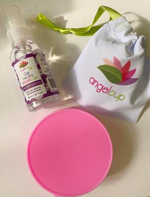Kit completo copa menstrual + gel limpiador + vaso esterilizador