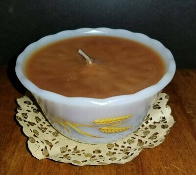 Golden Wheat Fire King Custard Dish Apothecary Cinnamon Candle,
