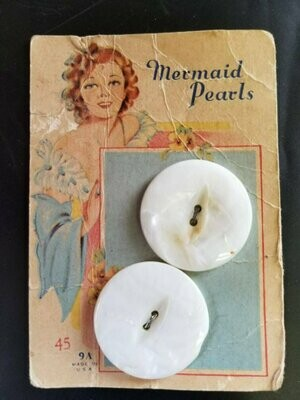 1930s, Vintage Button Card, Mermaid Pearls Buttons