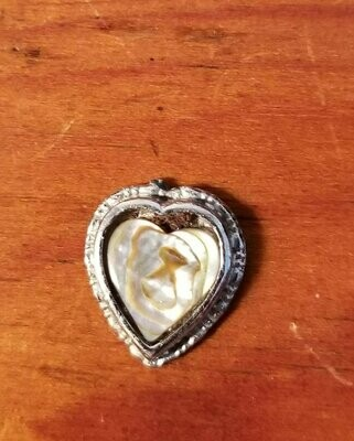 Vintage Mother of Pearl Heart Pendant, Crafts, Upcycle, Jewelry, Charm