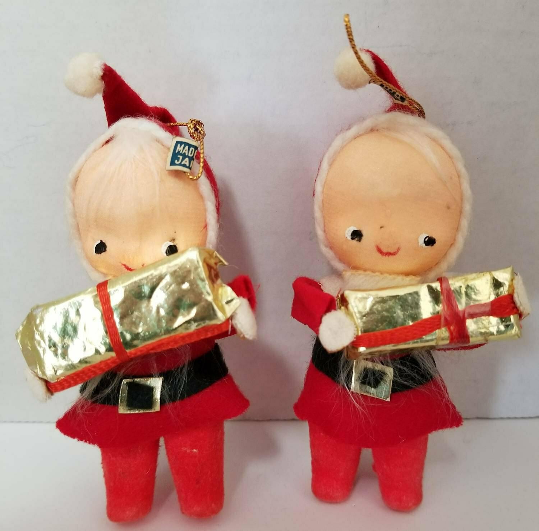 Vintage Felt Christmas Ornaments, Santa Baby Kids,1950 - 1960s, 2pc, Vintage Felt Christmas Ornaments, Santa and Knee Hugger Elf on Holly Branch, 1950- 1960s, 2pc