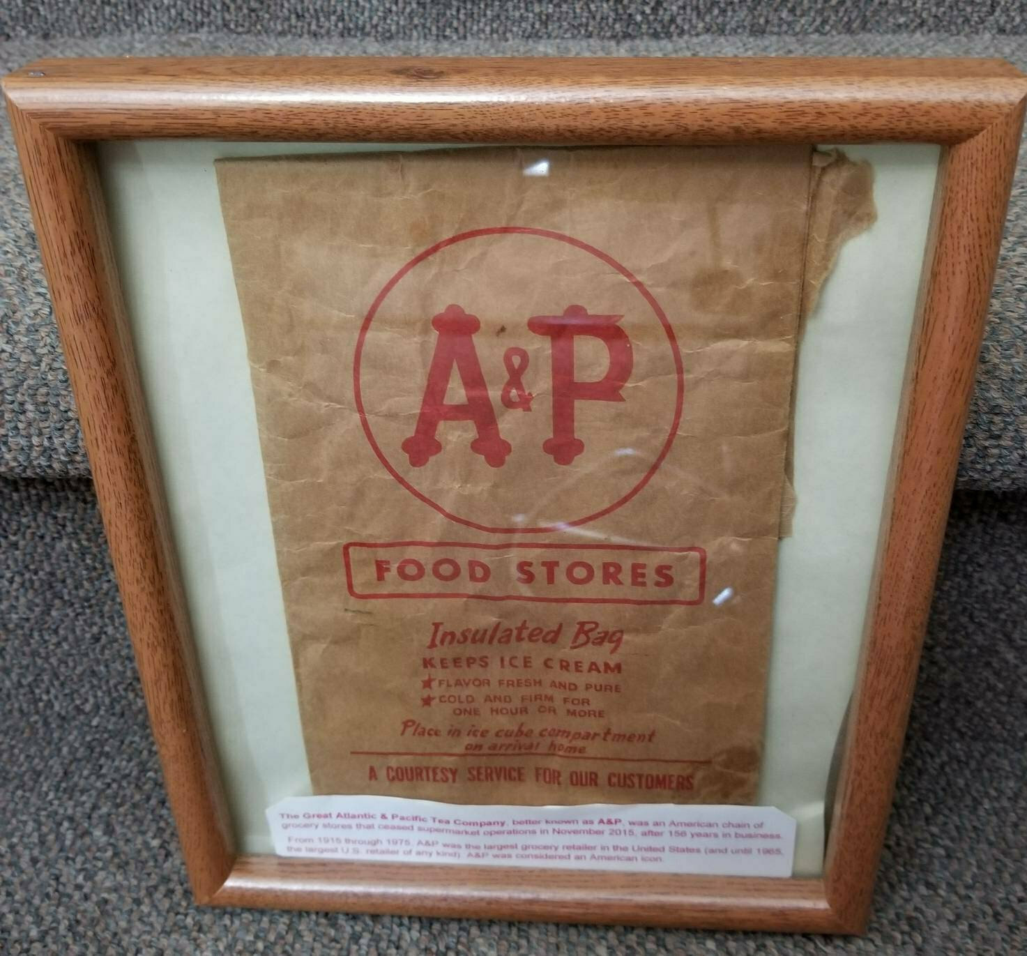 A & P Store, Insulated Ice Cream Bag, 1950 – 1960, Advertisement, Collectible