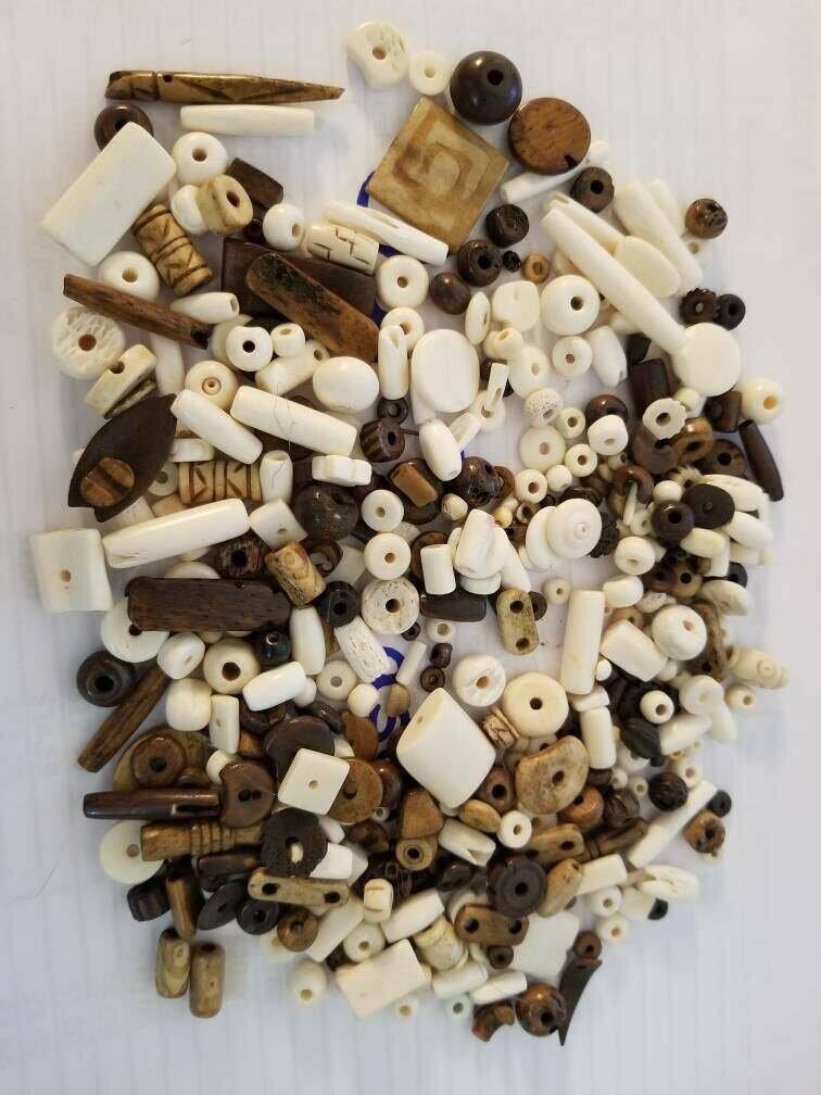 Carved Bone Beads, Vintage Wire Sealed Glass Jar
