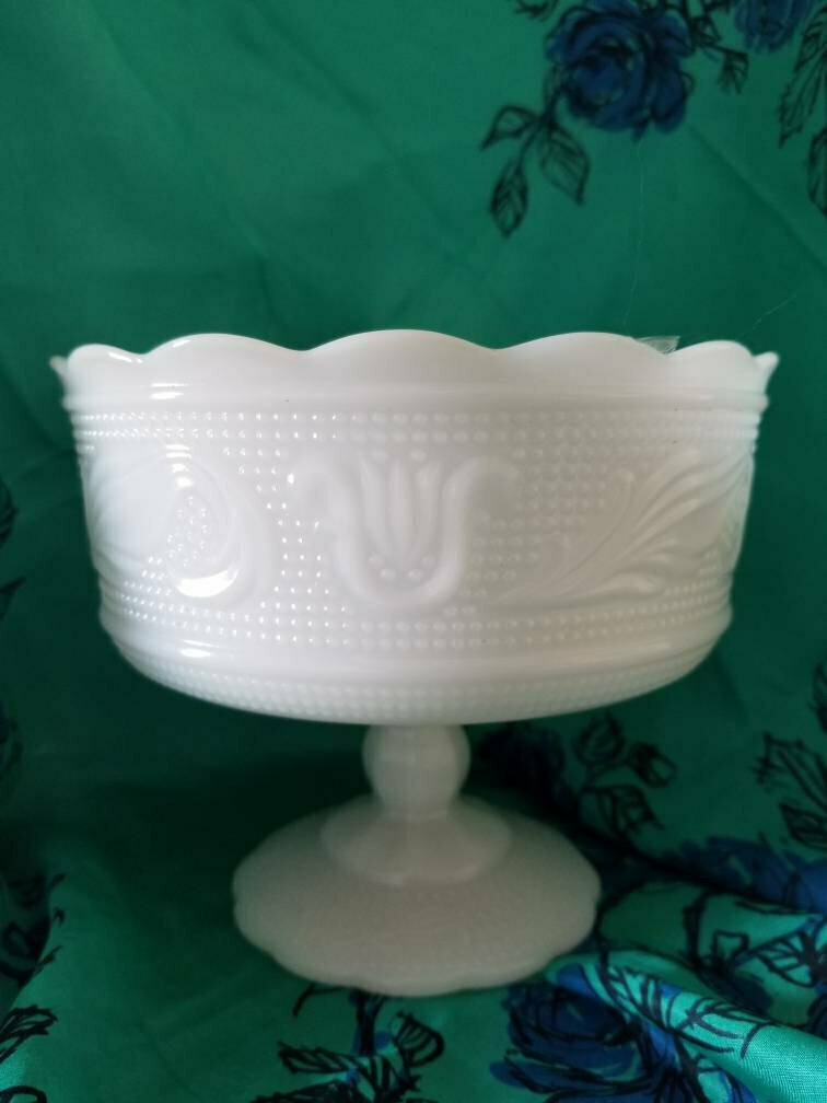 Vintage Hobnail Milk Glass Compote Planter