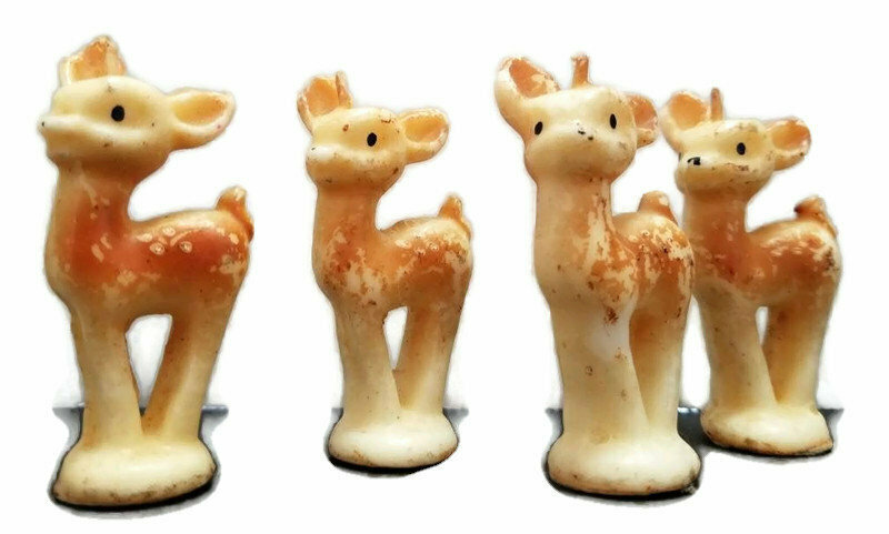 Vintage Tavern Novelty Candles, 4 Small Fawns