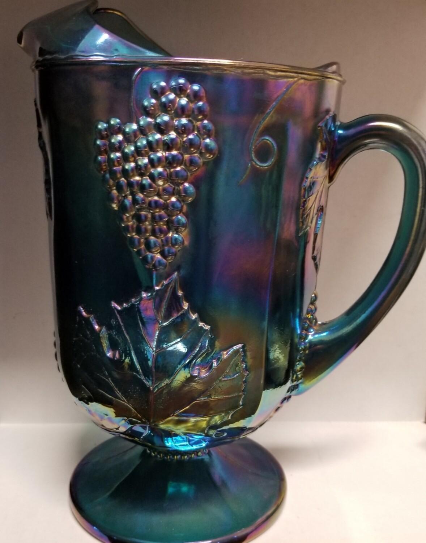 "Indiana Glass Blue Carnival Water ""Pitcher ""Harvest Grape"" Purple Blue Iridescent #1-494"