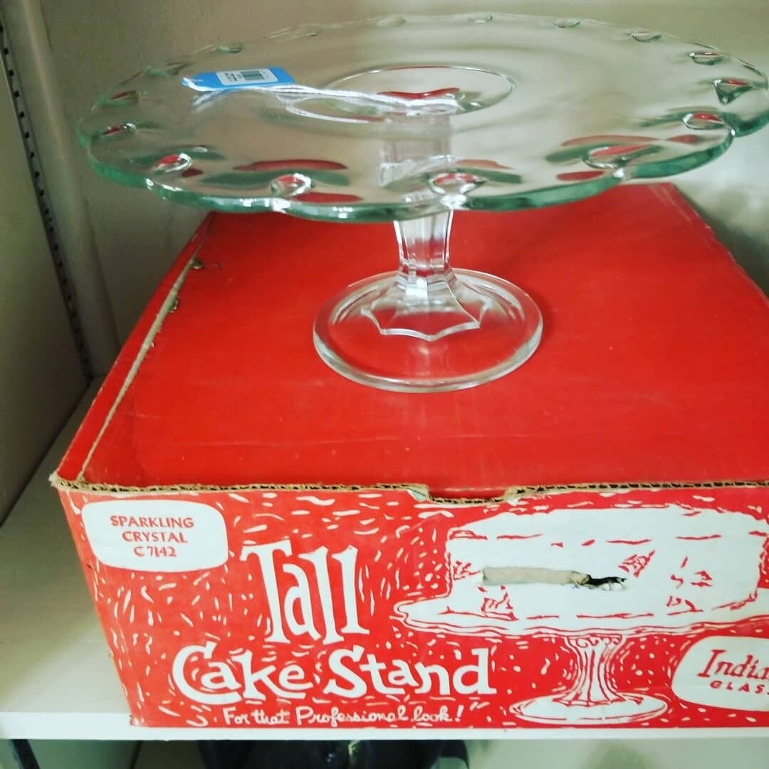 #1-1062 1950s' Indiana Glass Cake Stand/Original Box