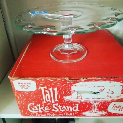 #1-1062 1950s' Indiana Glass Cake Stand/Original Box