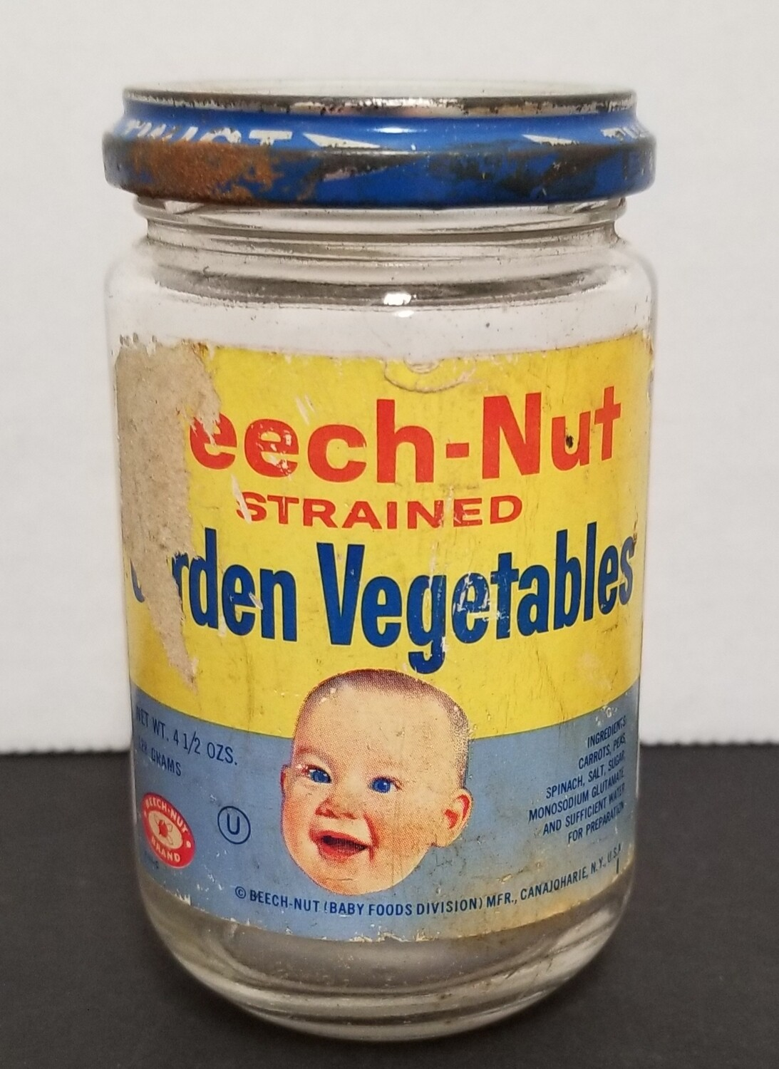 #1-1198 Vintage Glass Beech-Nut  Baby Food Jar - label & lid
