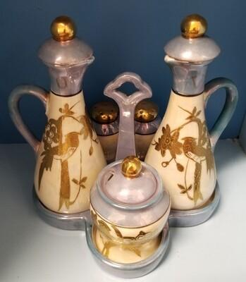 #1-1203 Vintage Chikaramachi Lusterware Cruet Condiment Set