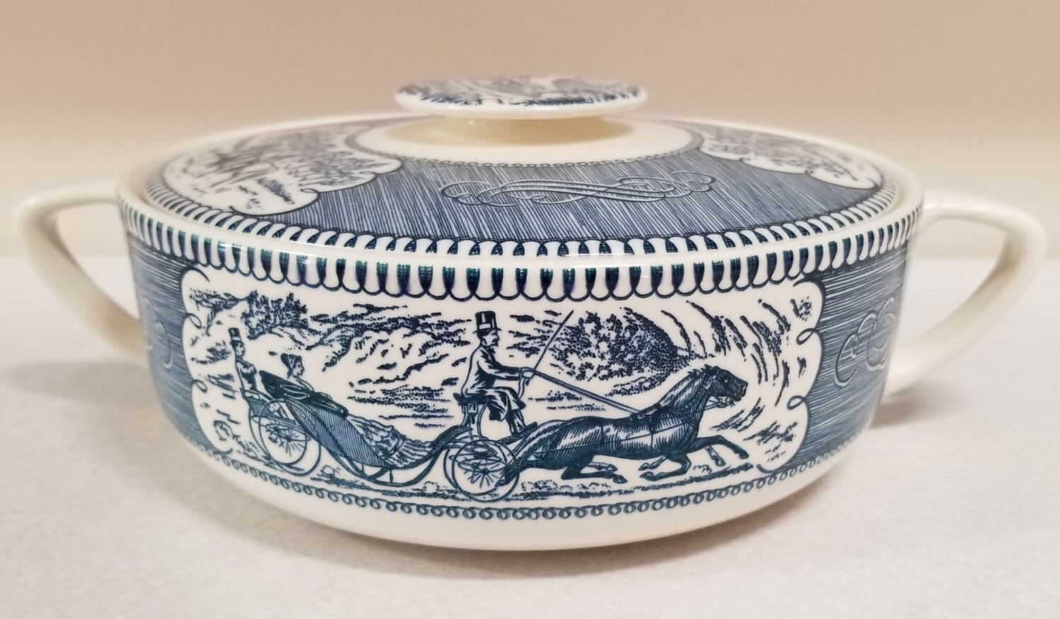 #1-1222 Currier & Ives Round Covered Casserole Dish by Royal China