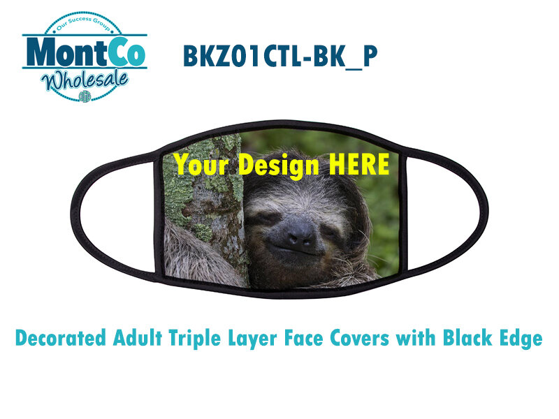 Decorated Adult Triple Layer Face Covers with Black Edge