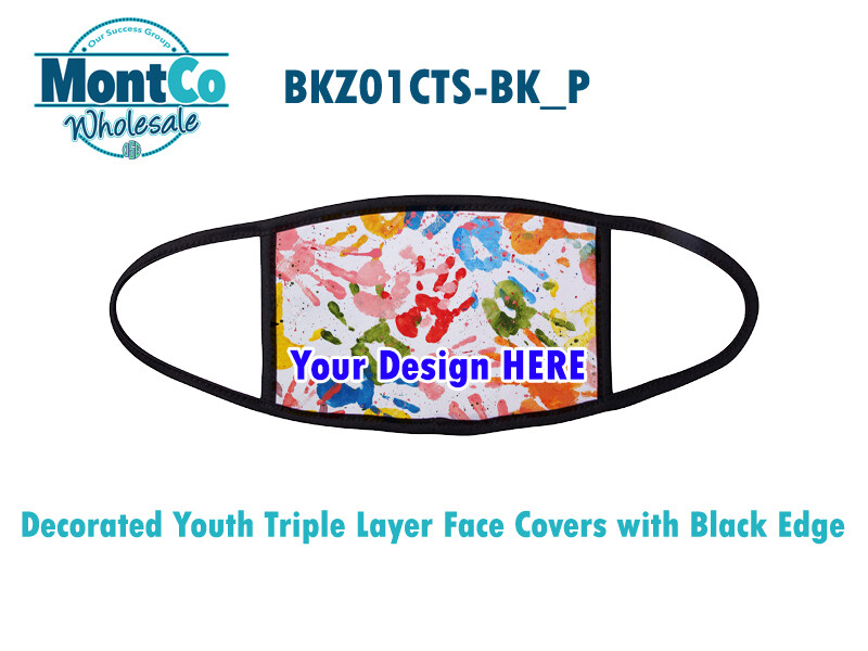 Decorated Youth Triple Layer Face Covers with Black Edge
