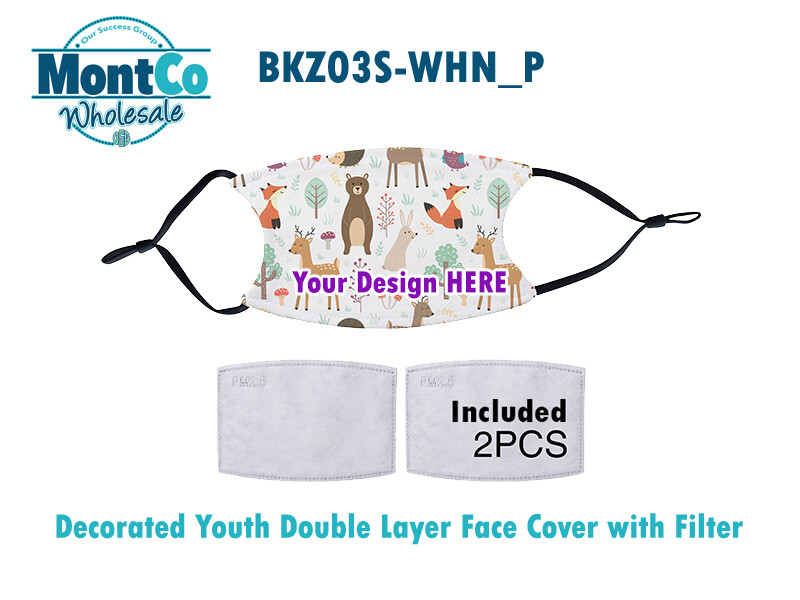 Decorated Youth Double Layer Face Covers with Filters