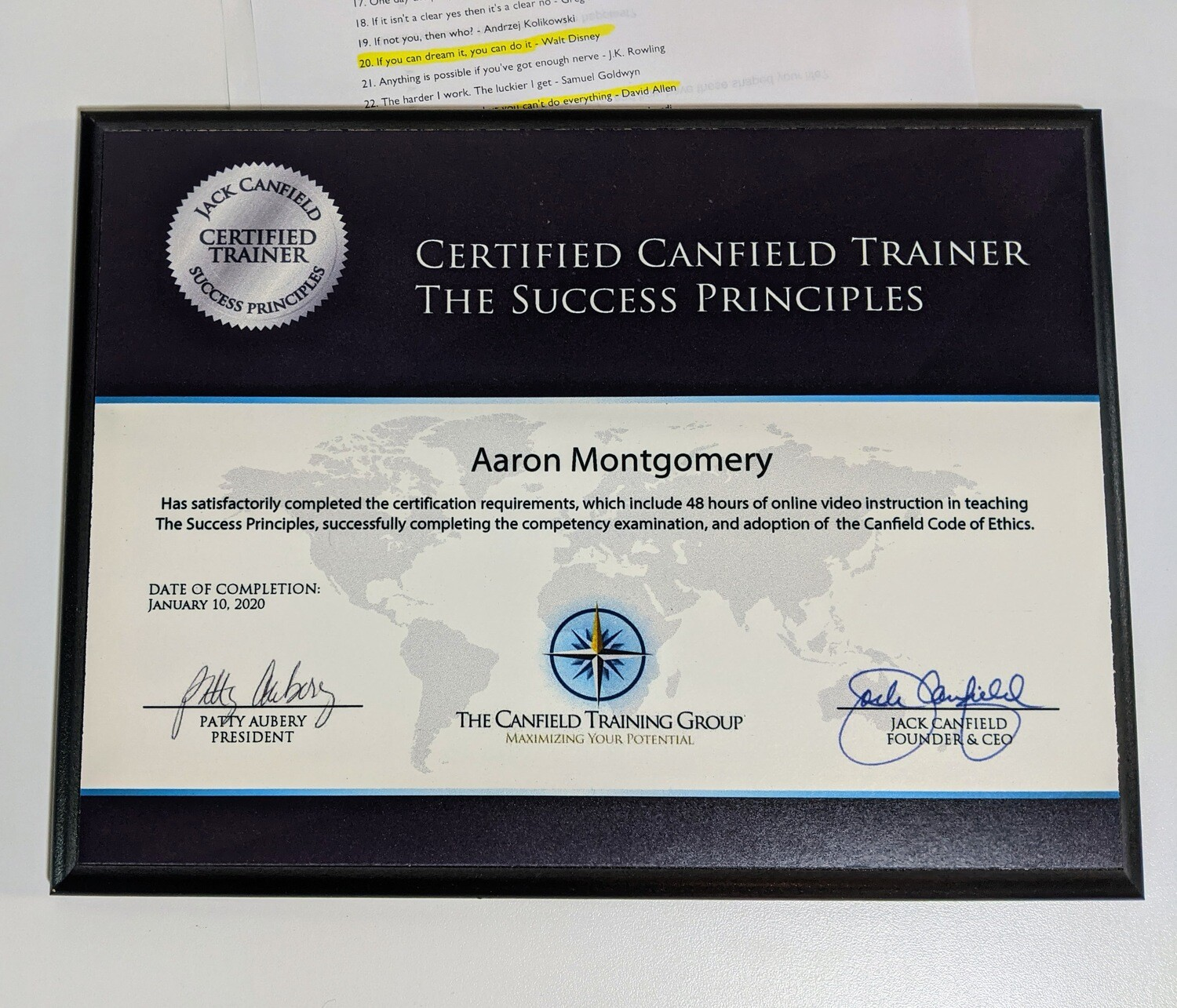 Certified Canfield Trainer - The Success Principles - Plaque with Black Edge