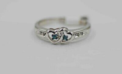 10k wg double heart ring w/ blue & white rbc diamonds