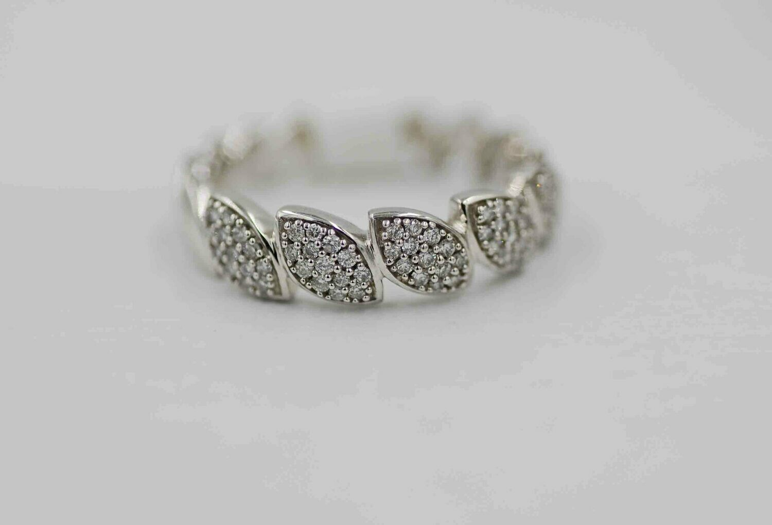 10k wg marquise shape pave' band using .25cttw RBC diamonds