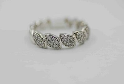 10k wg marquise shape pave' band using .25cttw RBC diamonds